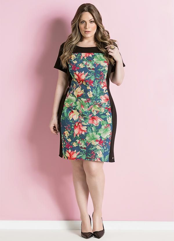 Quintess Vestido Tubinho Floral Plus Size Vestidos