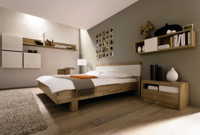 Ideen Schlafzimmer ~ Wandfarben ideen schlafzimmer in hellbraun & grau schlafzimmer