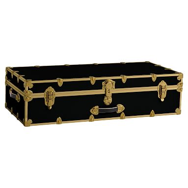 Dorm Trunk, Black With Rubbed Brass, Trundle