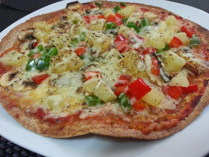 Pizza con tortitas de trigo Receta muy fácil, rápida y mucha sabrosa ...