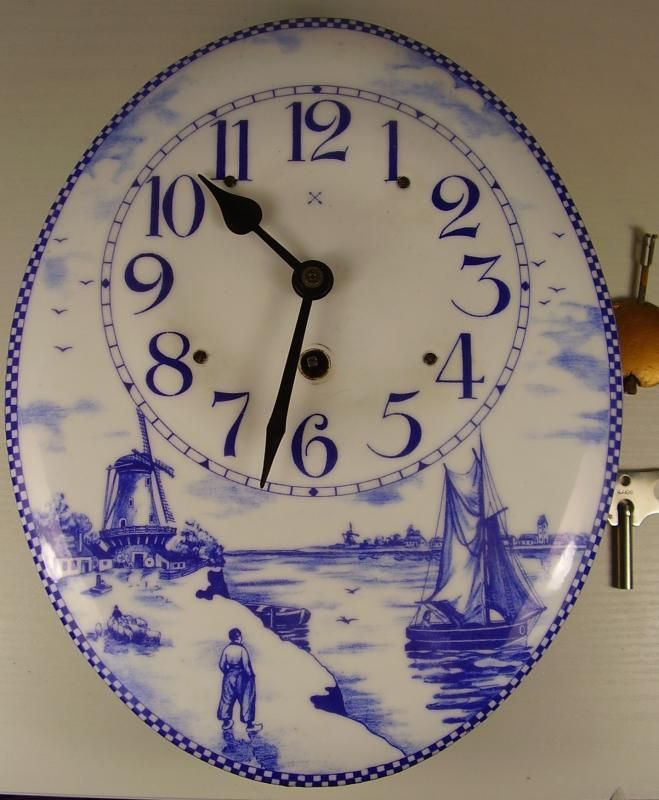 Antike Email Wand Küchen Uhr Holland Motiv um 1900 Antiquitäten