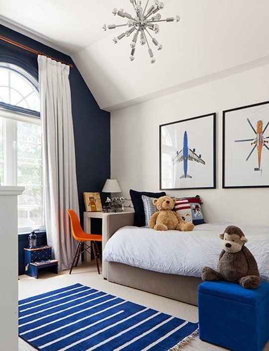 A Touch Of Drama Black Navy Accent Walls In Kids Rooms Cool