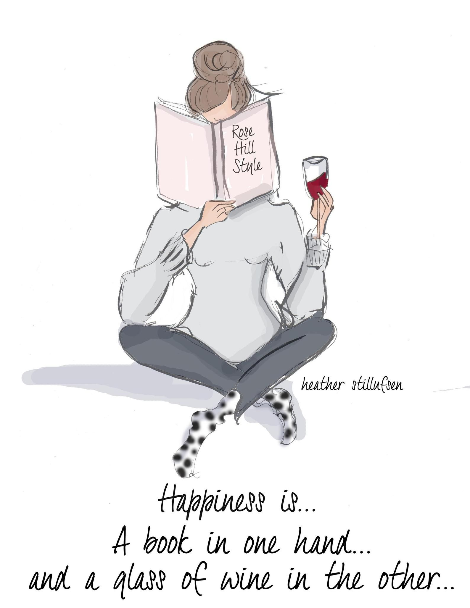 Happiness Is Books And Wine Art For Women Quotes For Women