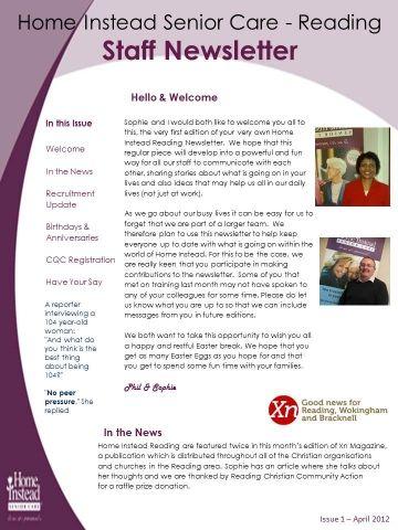 Home Instead Staff Newsletter
