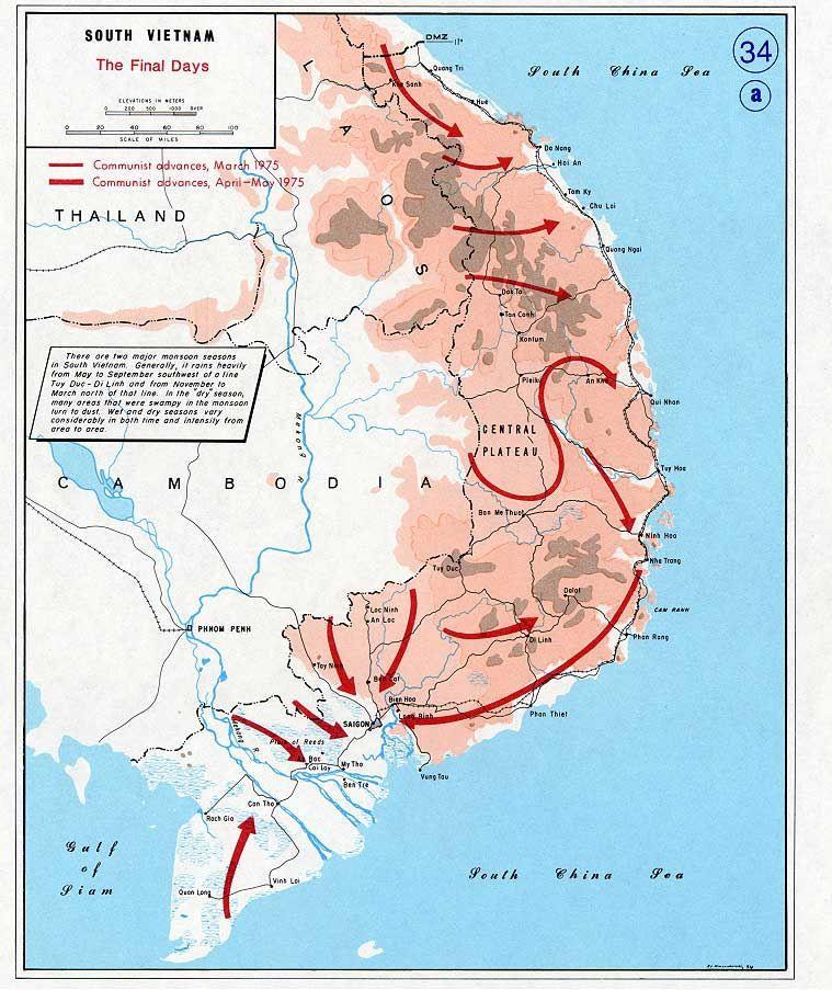 Fall of South Vietnam | Maps | Vietnam, Vietnam map, Vietnam ...