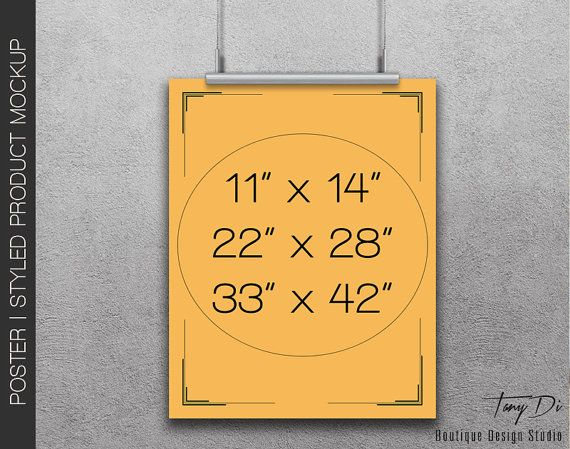 11x17 Poster On Wall Photoshop Print Mockup Vertical Etsy Poster Mockup Hanging Posters Print Mockup