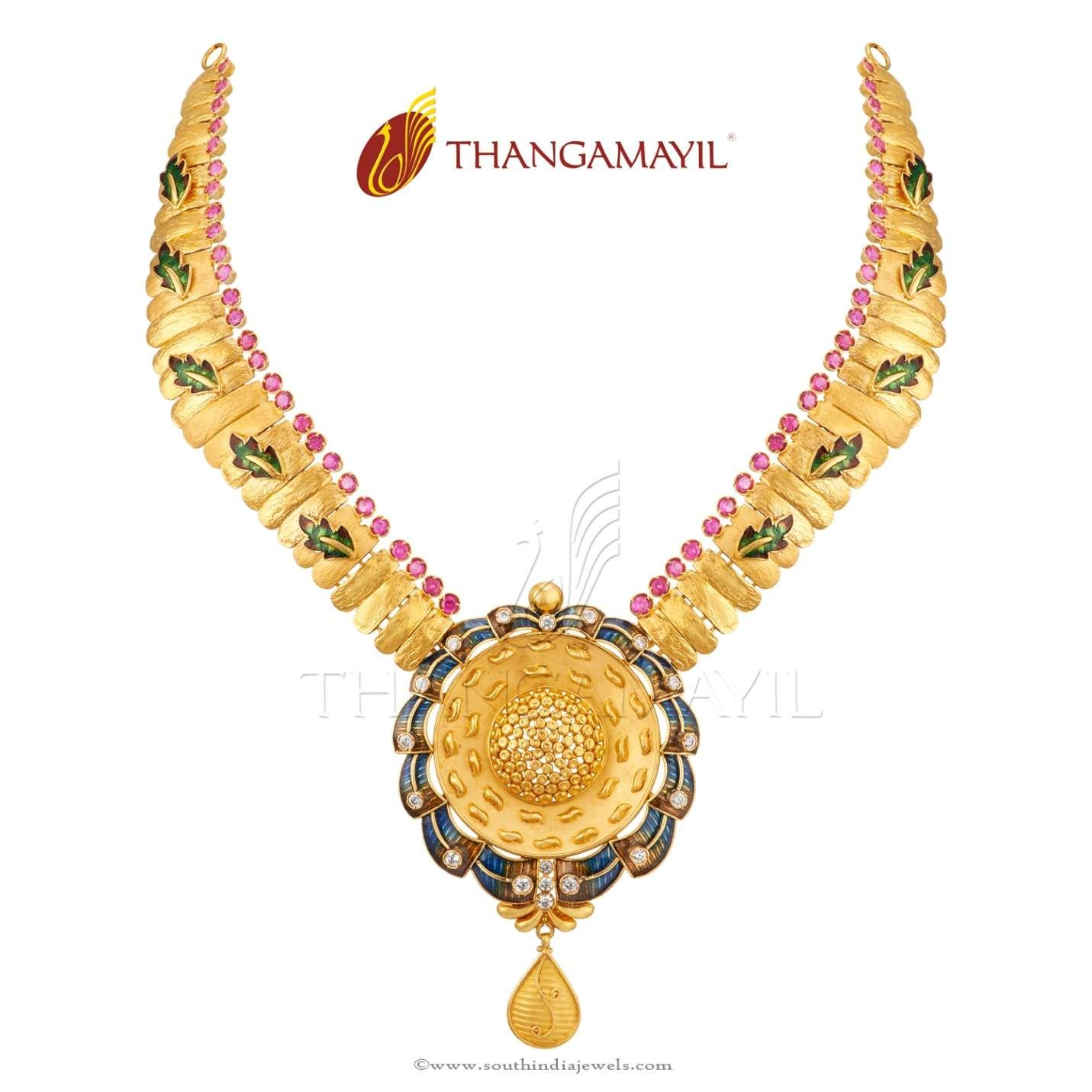 Beautiful 22 carat gold chains with matching pendant designs latest - Gold Jewellery Designs From Thangamayil Jewellery Thangamayil Gold Necklace Designs