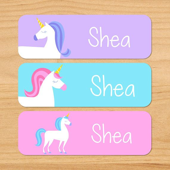 1084ce20a181 Kids Unicorn Waterproof Name Labels, Personalized Unicorn Daycare ...