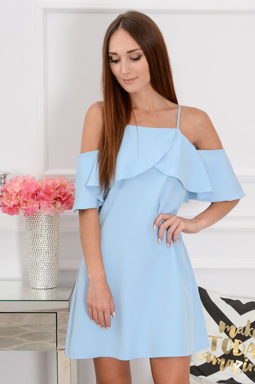 Sukienka Nikola Z Falbana Blekitna Dresses Cold Shoulder Dress Fashion