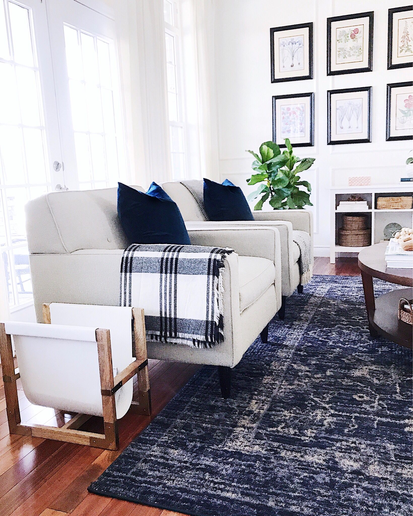 Blue And White In The Living Room With A Touch Of Plaid Navy Rug Living Room Rugs In Living Room Farm House Living Room