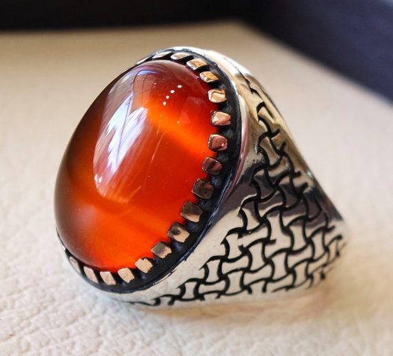 SuoHuan Size 6 10 Vintage Rings Womens Mens Red Zirconia