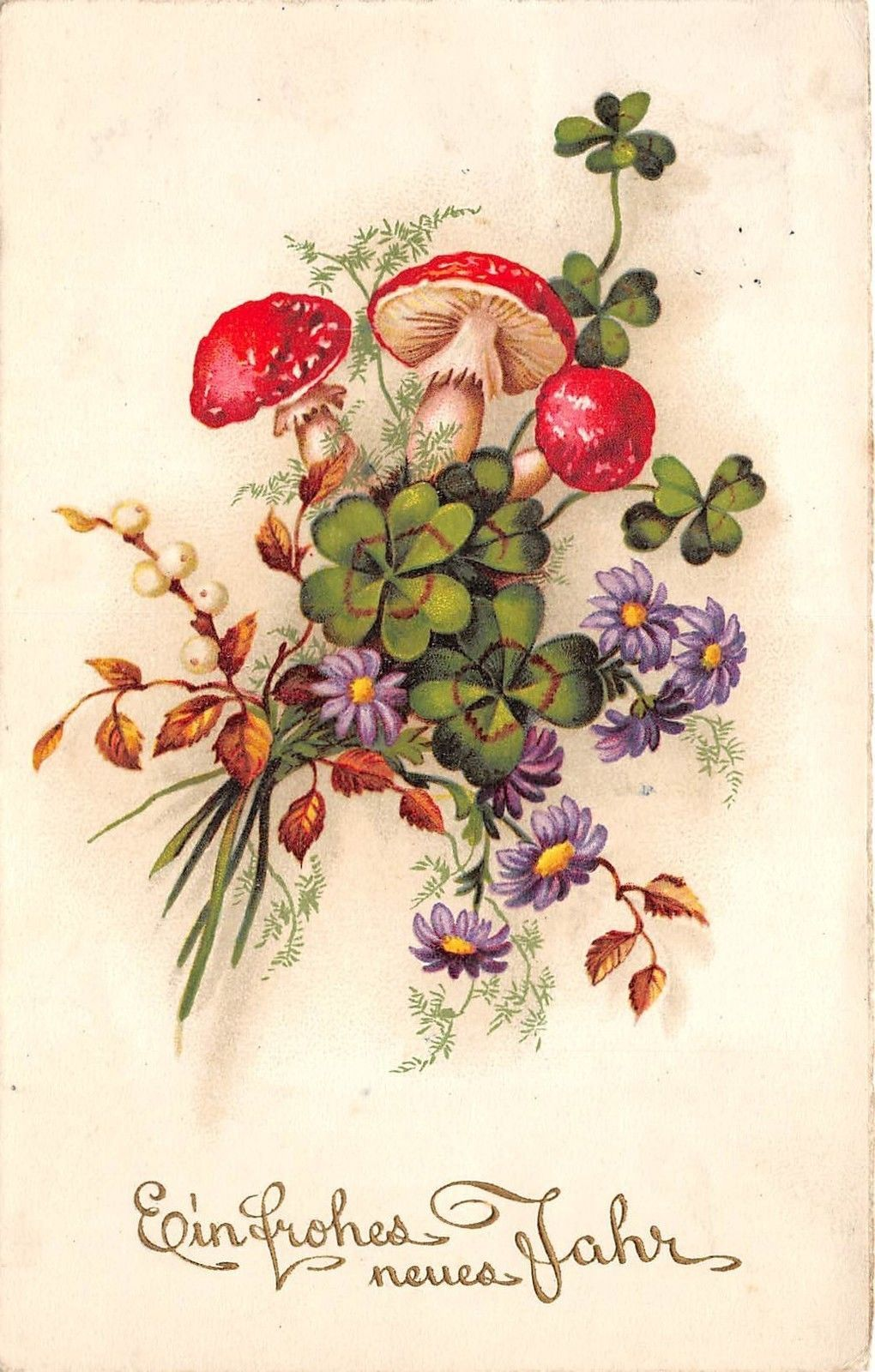 Bg3964 Mushrooms New Year Neujahr Flower Mistletoe Germany Greetings