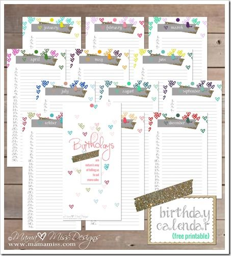 Birthday Calendar - Custom Designed Free Printable by mama♥miss - sample birthday calendar