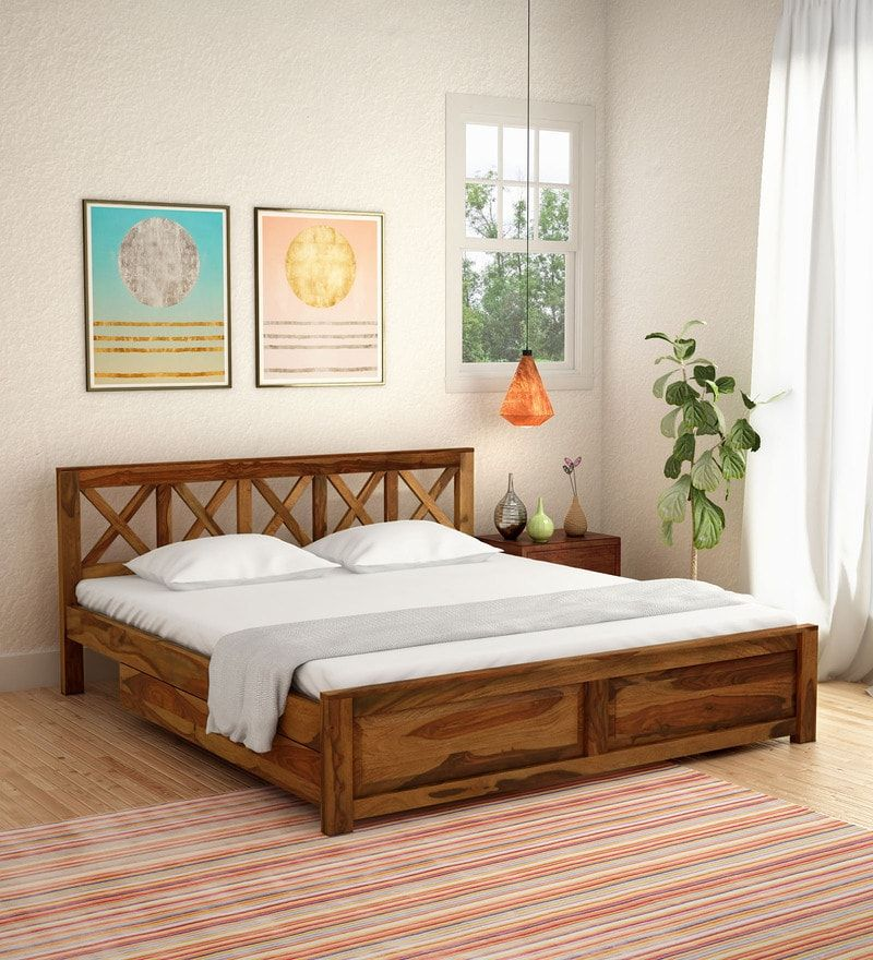 Best Kryss Solid Wood King Size Bed With Storage In Rustic Teak 400 x 300
