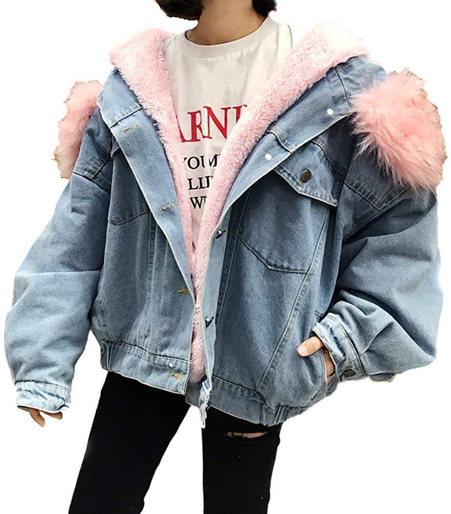 Women S Winter Hooded Fur Collar Thick Denim Jacket Outerwear Coat Pink Pink Small Denim Jacket Women Denim Coat Jacket Jean Jacket Women [ 1050 x 922 Pixel ]