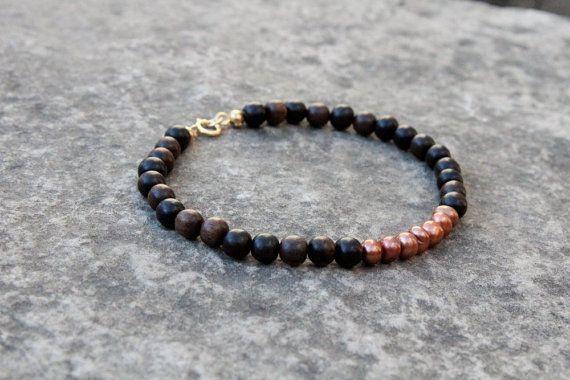 Ebony Wood Bead Bracelet Pearl & Ebony Bracelet by EternalBird