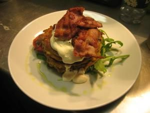 Corn fritters and crispy bacon