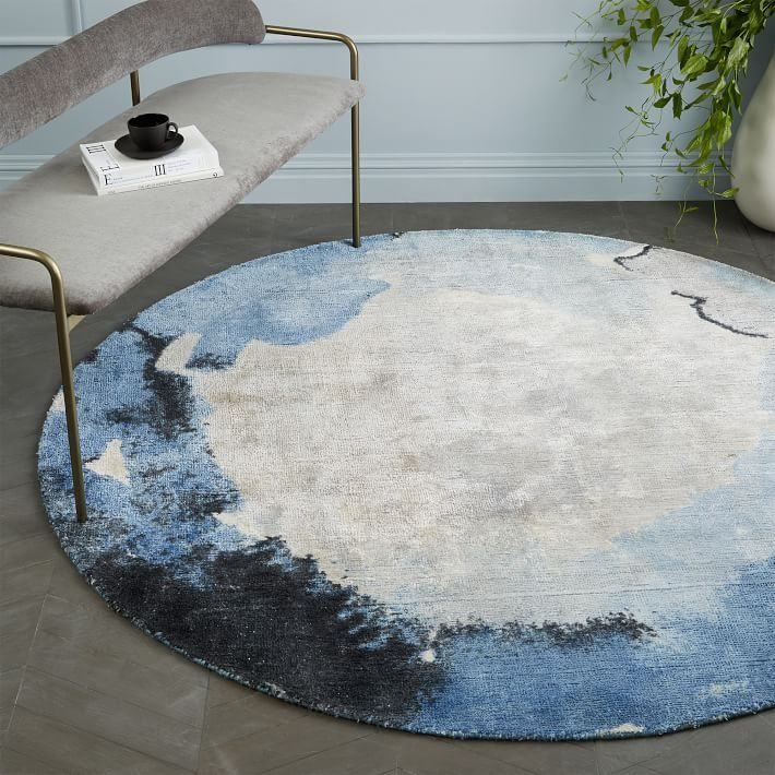 Watermark Rug Round Frost Gray Round Rugs Rugs On Carpet