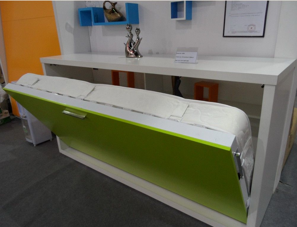 Space saver wooden wall bed 2013 innovative free standing space saving murphy folding horizontal - Space saving beds ...