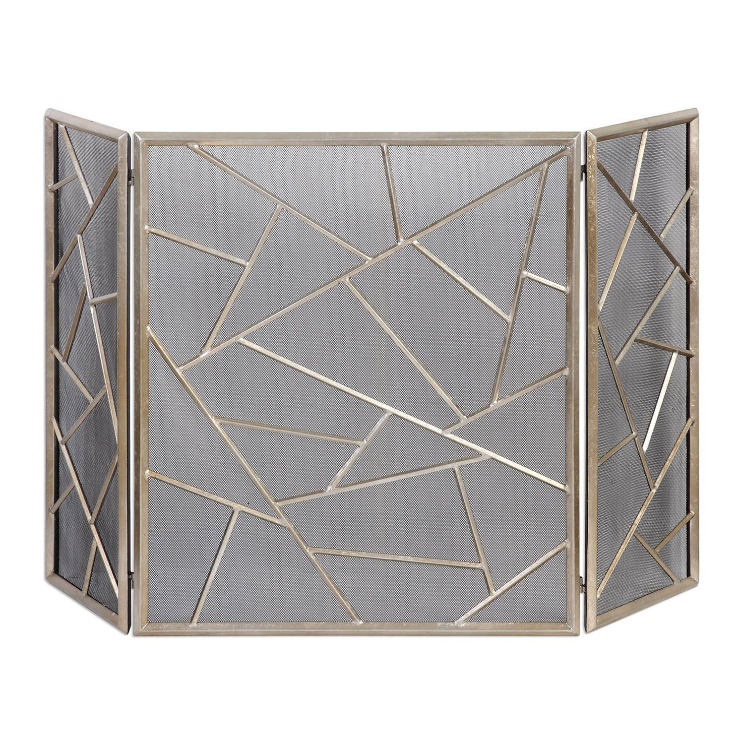 Armino Antique Silver Fireplace Screen Uttermost Screens Fireplace Accessories Home Decor