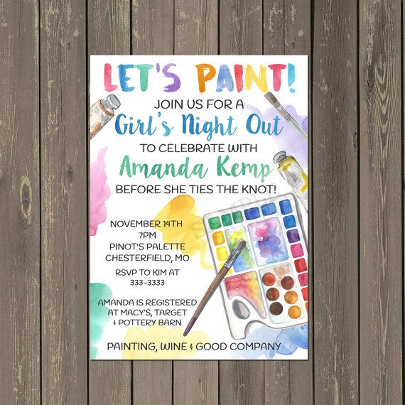 adult painting party invitation, bridal shower painting party, Party invitations