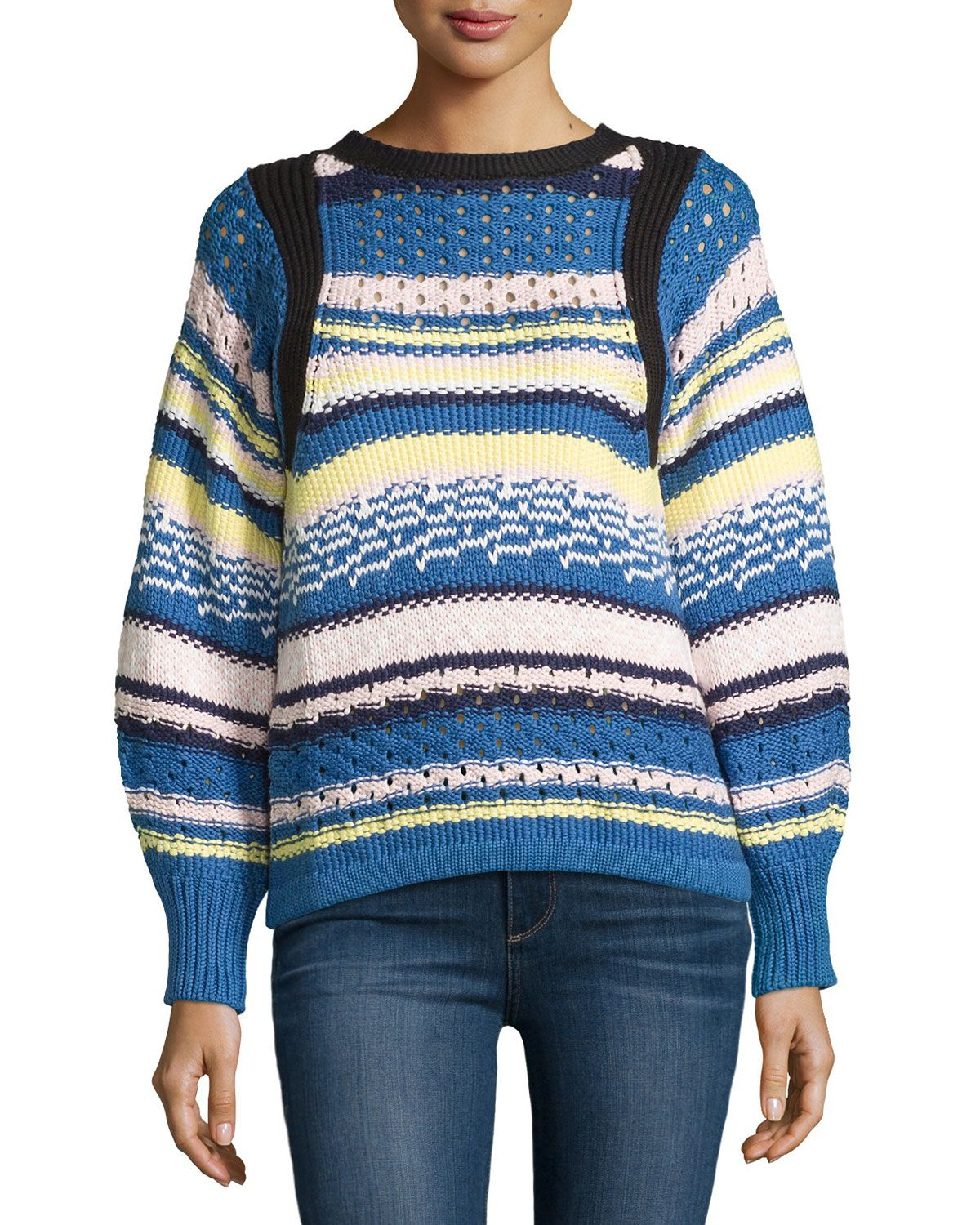 Jewel-Neck Striped Sweater, Pink/Blue, Pink Blue - See by Chloe ...