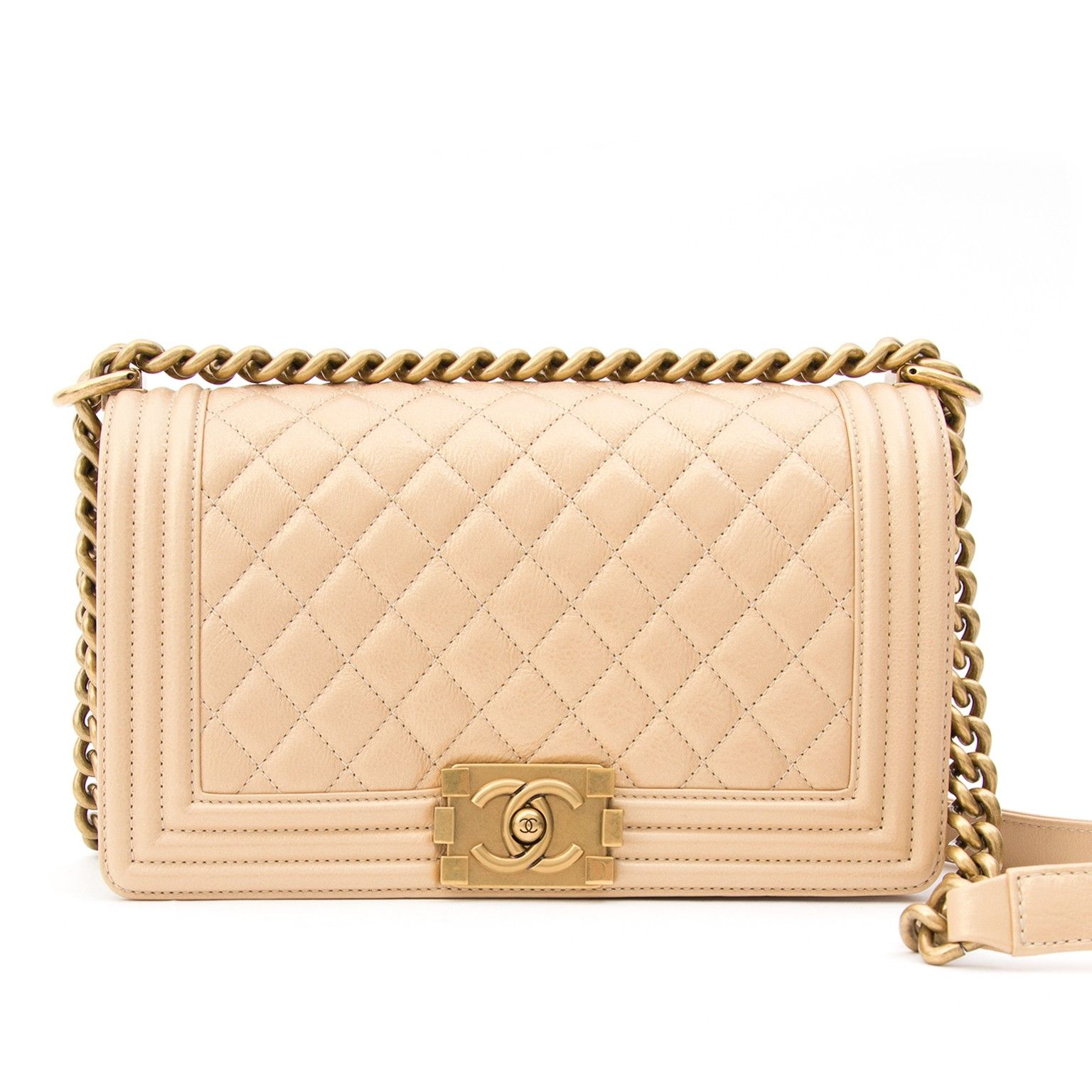 Chanel Pearl Beige Calfskin Medium Boy Bag  54ab63a0a604c