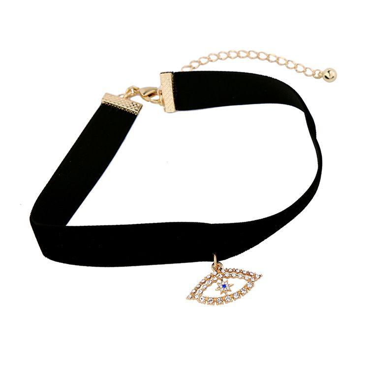 White Velvet ribbon choker necklace with pink evil eye charm
