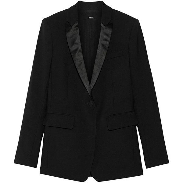 Adam Lippes Silk satin-trimmed wool-blend blazer (596.355 HUF) ❤ liked on Polyvore featuring outerwear, jackets, blazers, blazer, black, tuxedo blazer, tux jacket, black jacket, tailored blazer and black faux jacket