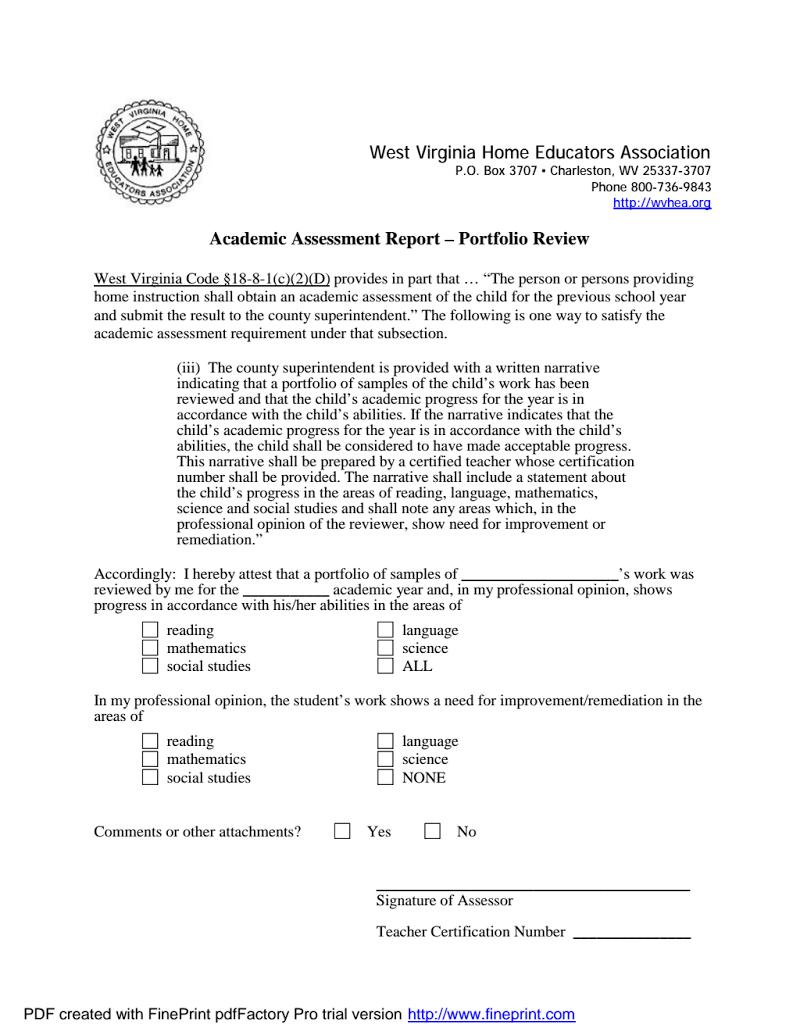 WV Academic Assessment Form Portfolio review, Homeschool