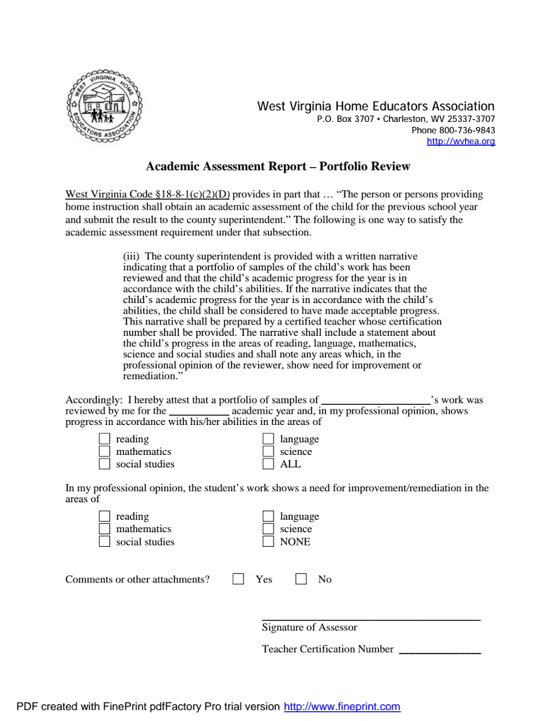 Wv Academic Assessment Form Homeschool Ideas Pinterest