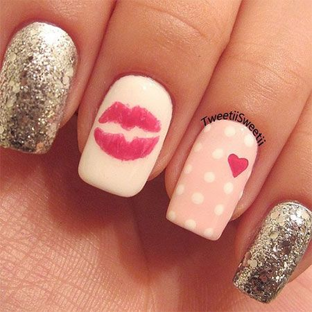 Get Inspired Valentine's Day Nail Art Ideas lips heart red pink polka dot  nails - Love-Nail-Art-Designs-Ideas-For-Valentines-Day-2014-Heart-Nails-12