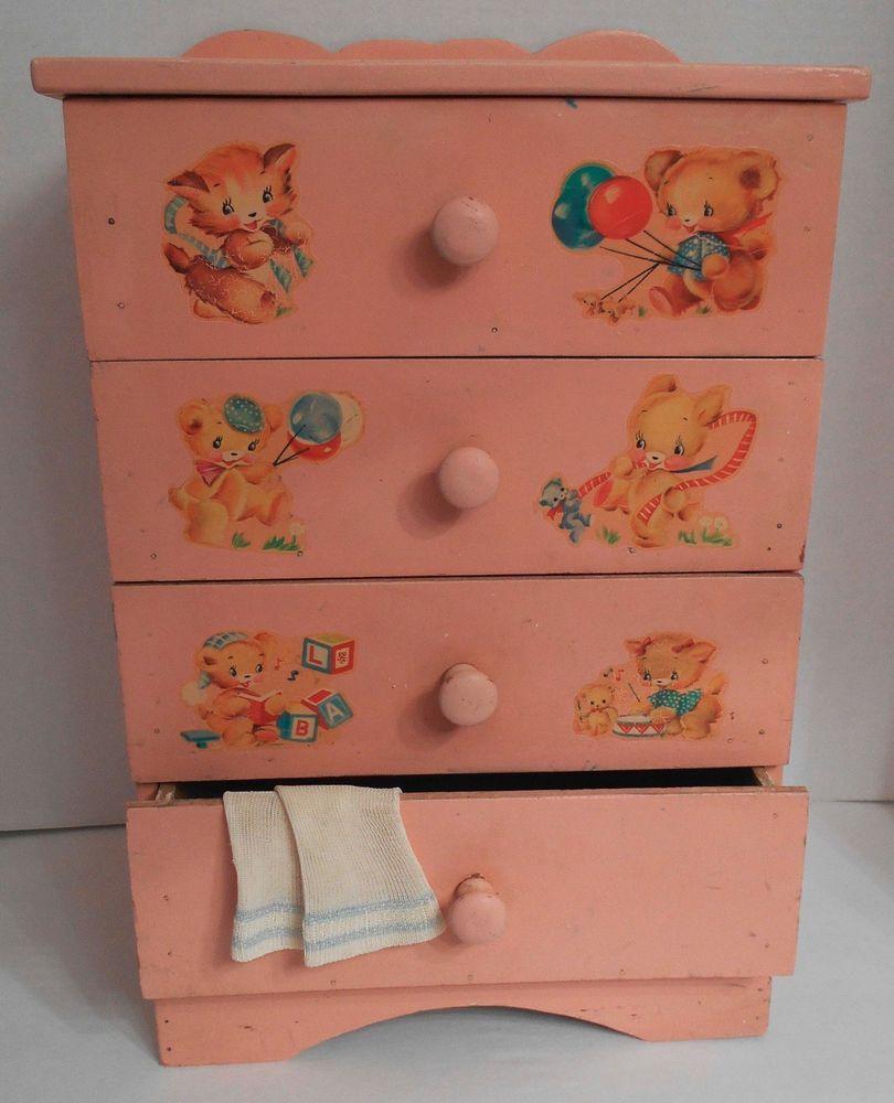 Vtg 1950s Pink Baby Doll Dresser W Nursery Decals Dy Dee