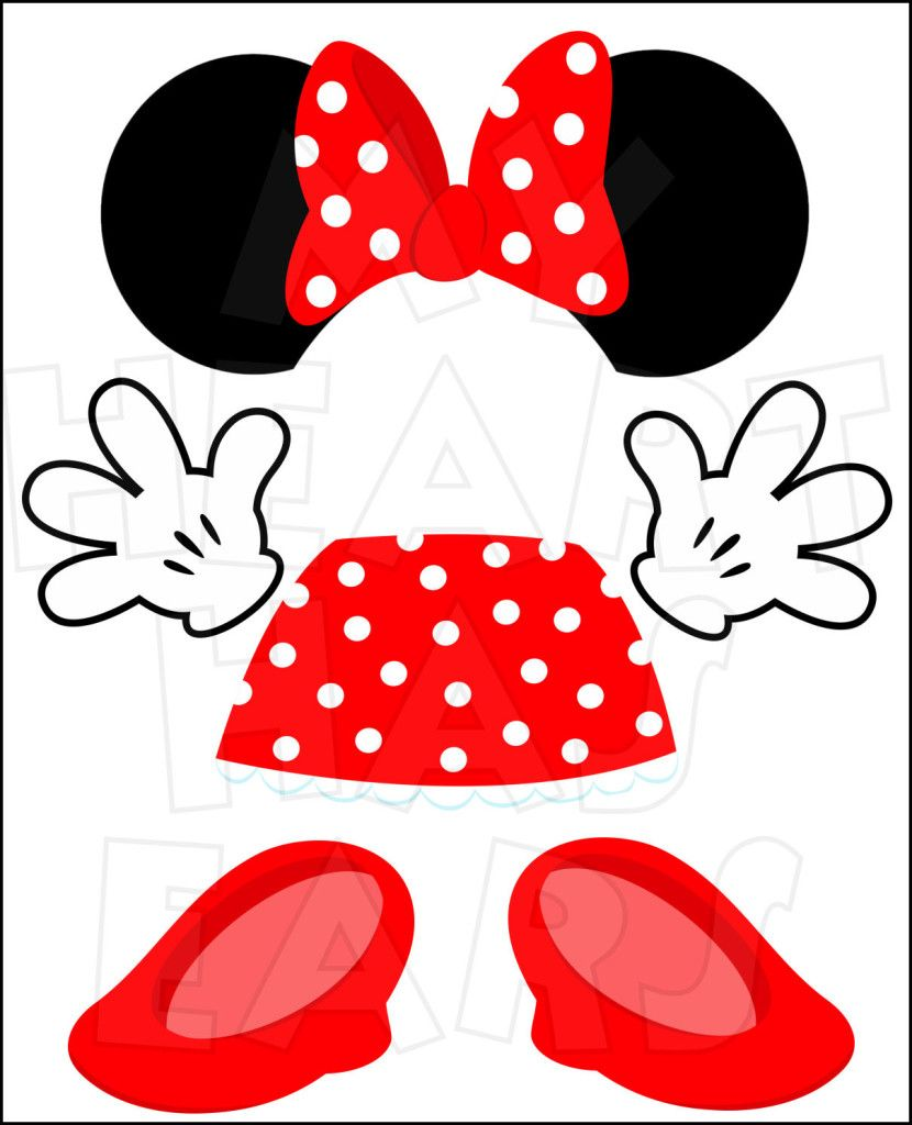 Minnie Mouse Body Parts For State Room Disney Cruise Door INSTANT DOWNLOAD Digital Clip Art