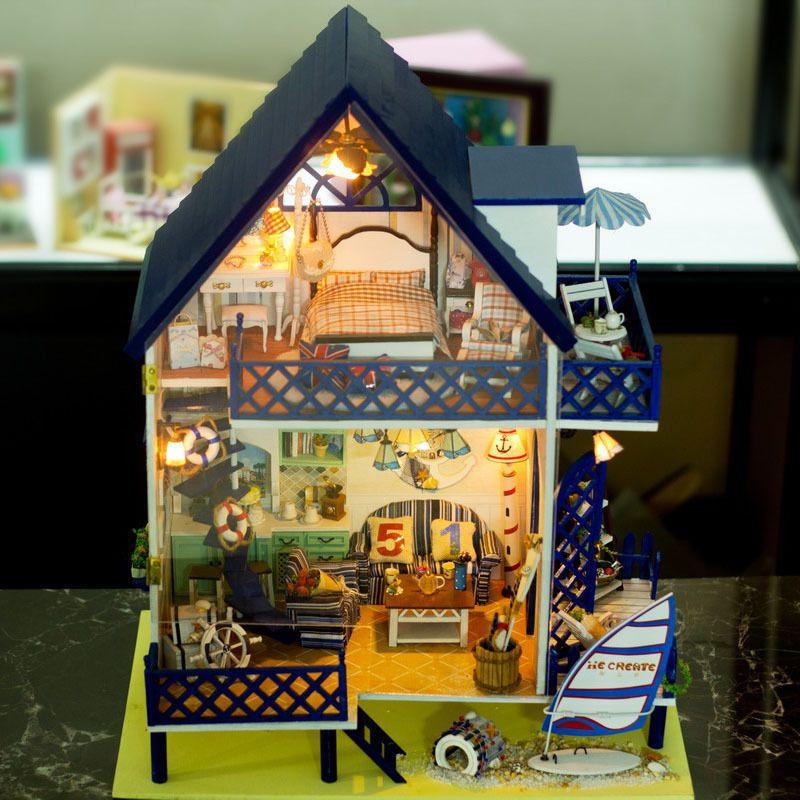 handmade dolls house furniture. DIY Wooden Miniatura Kits Doll House Furniture Handmade 3D Dollhouse Toys Gift #Sunrain Dolls