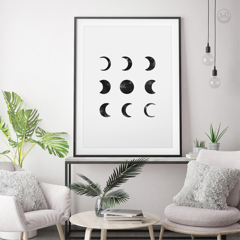 Moon Phases Wall Art, Moon Phases Print, Moon Poster, Moon