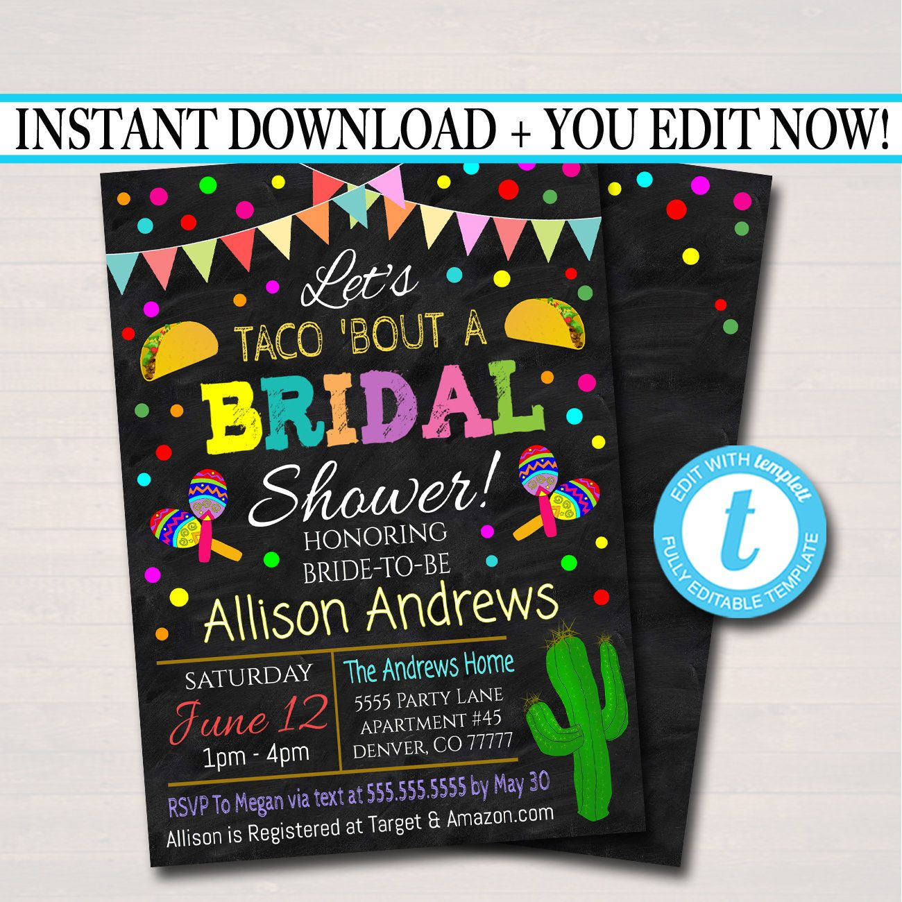d3a6957f4b8 Editable Fiesta Nacho Average Bridal Shower Invitation