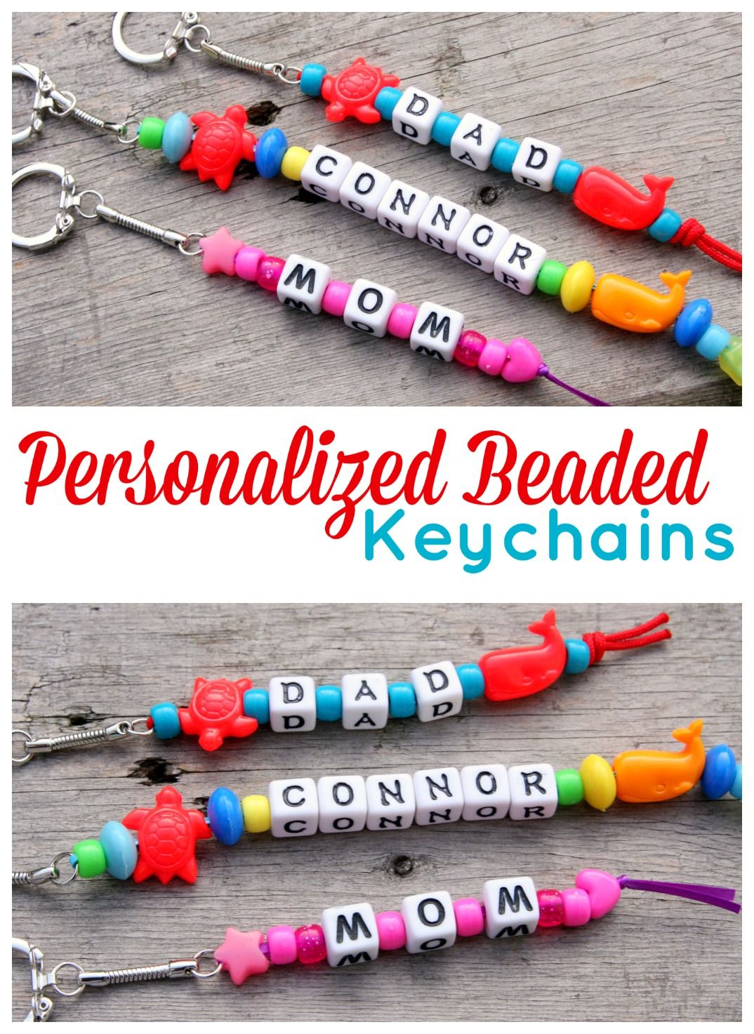 Awesome Bead Craft Ideas For Kids Part - 8: Personalized Beaded Keychains - 15 Minute Craft
