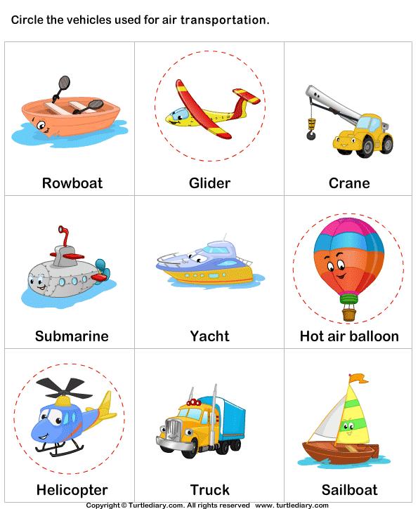 Air Transport Answer | vocab | Transportation worksheet