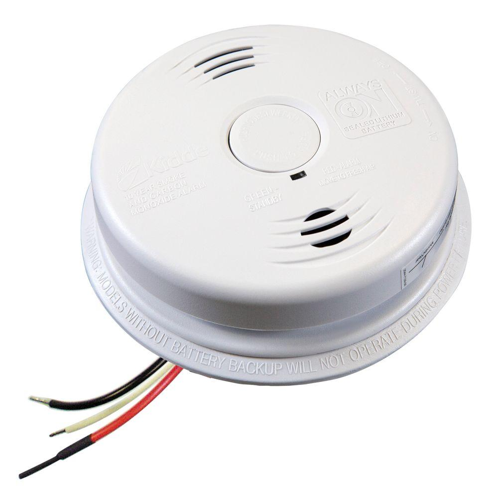 hardwired interconnected combination smoke and carbon monoxide alarm 10 year worry free lithium battery backup [ 1000 x 1000 Pixel ]