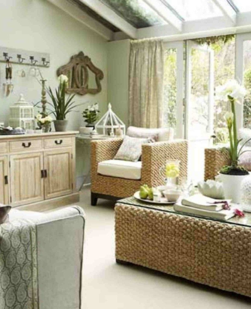 Living Room With The Green Theme Of Spring Season