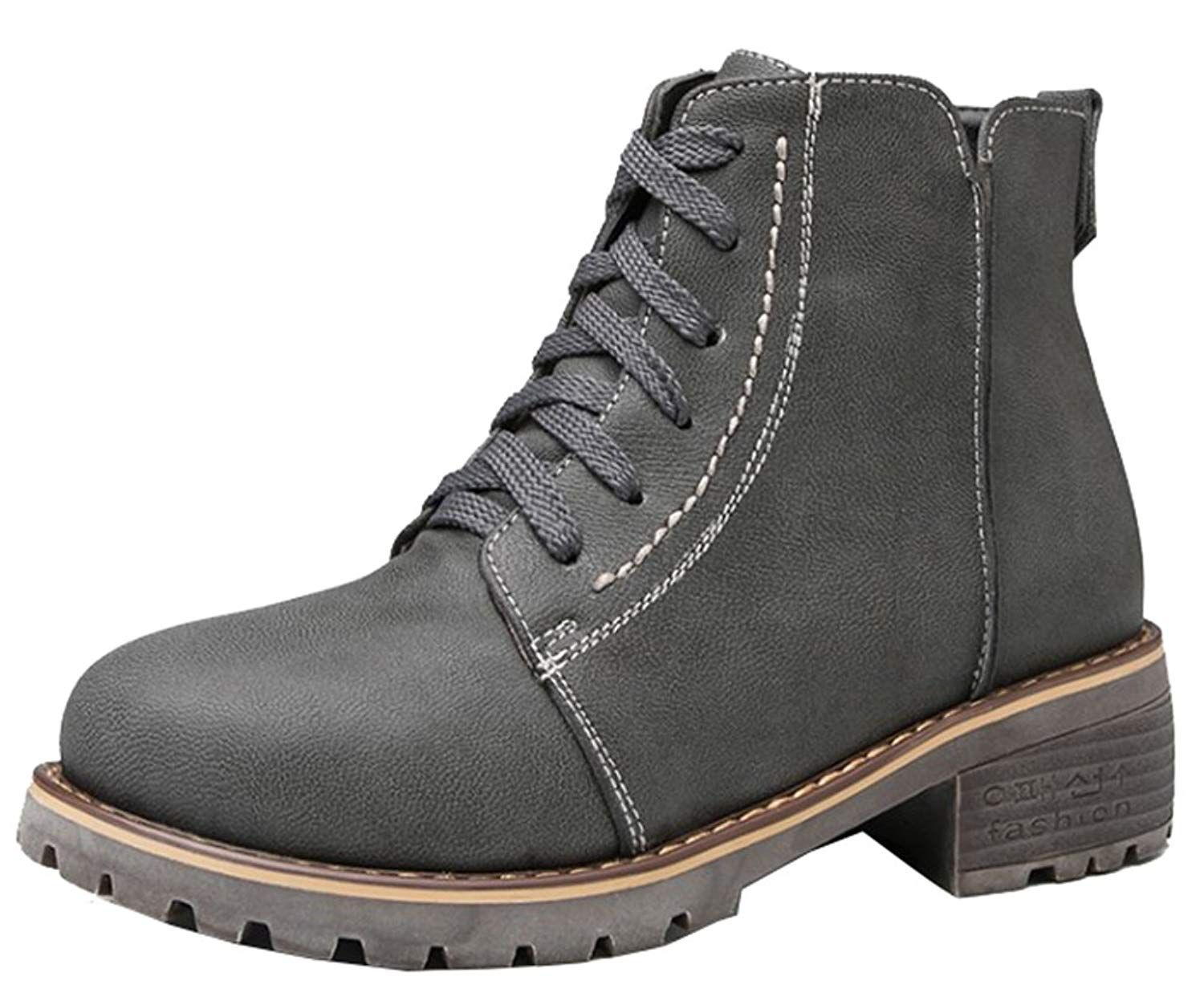 00ab820ec691 SHOWHOW Women s Comfy Microsuede Wedge Heel Lace Up Side Zipper Martin Boots     Learn more by visiting the image link. (This is an affiliate link)