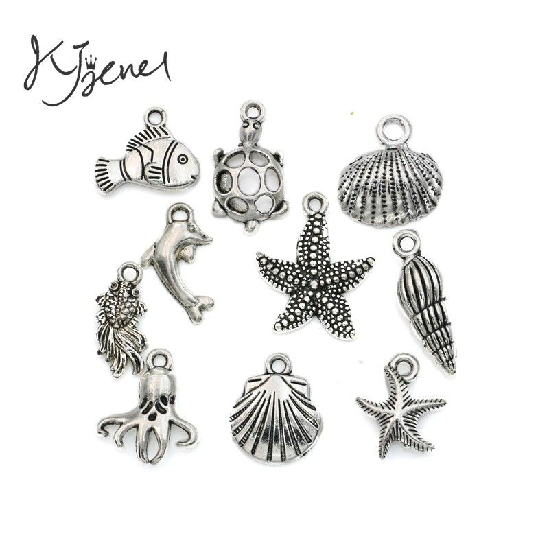 Mixed Tibetan Silver Plated Ocean Hippocampus Turtle Shells Fish Charms Pendants Jewelry Making Diy Accessories Handmade  M020
