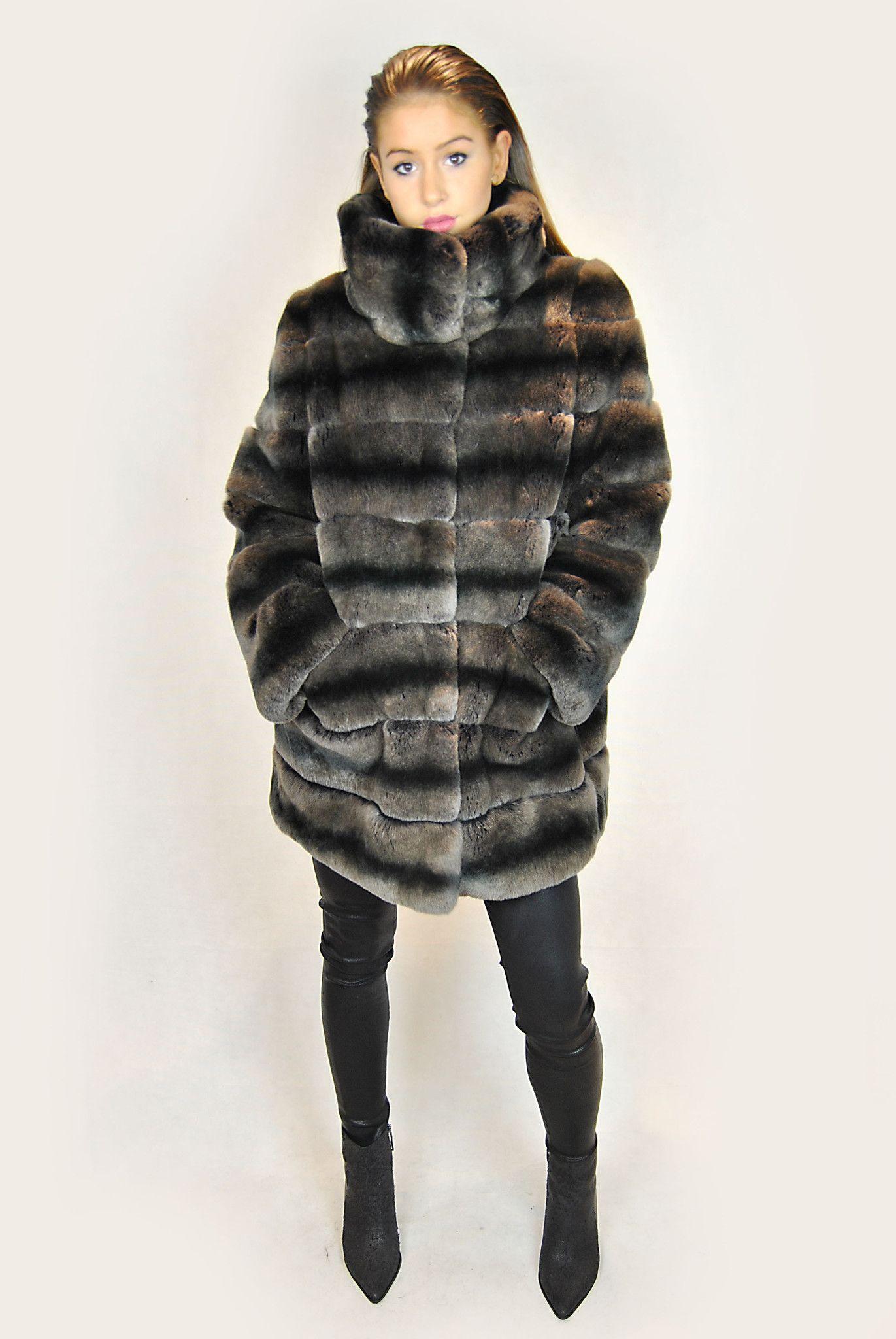 e79dd5728707 JESSIMARA BLACK/BROWN REX RABBIT FUR COAT | Rex rabbit fur coats ...