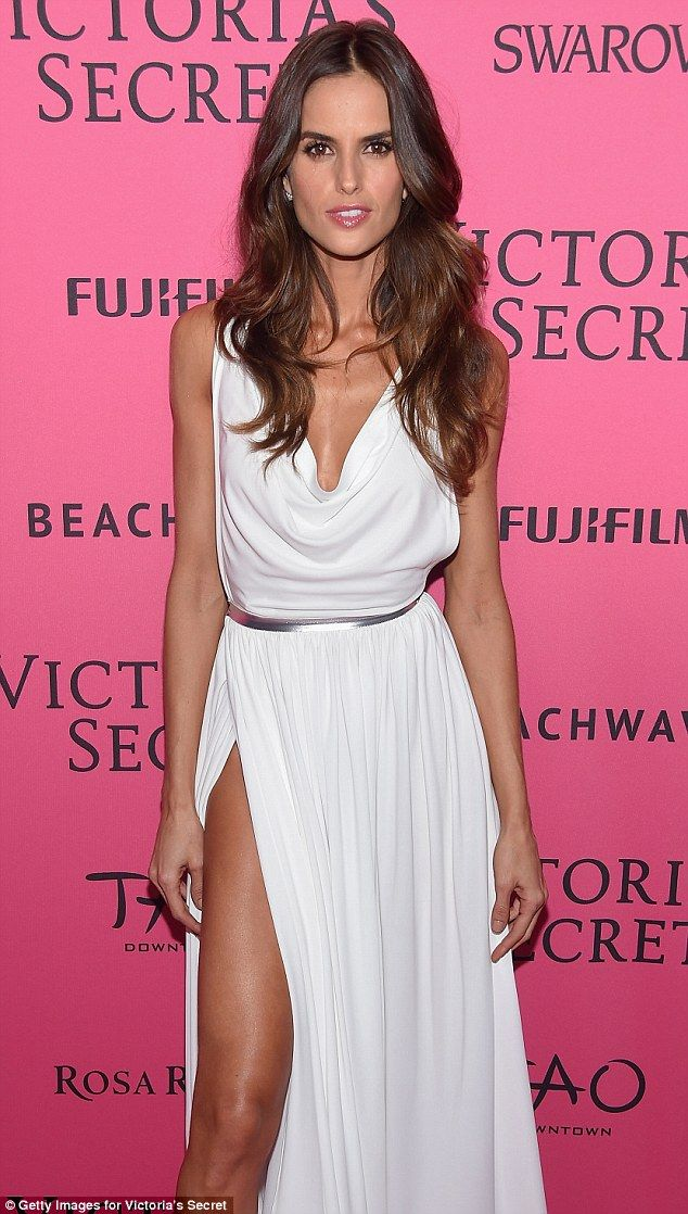 Izabel Goulart wears white thigh high split gown at VS Show ...