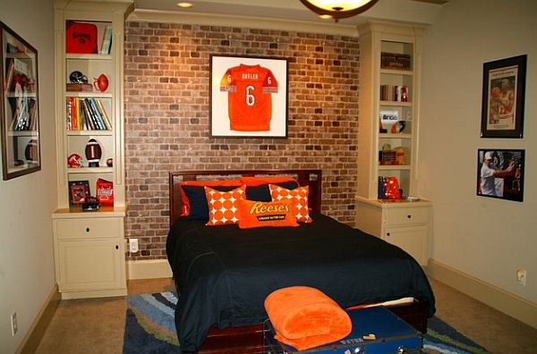 framed jerseys from sports themed teen bedrooms to sophisticated man caves - Brick Kids Room Decor