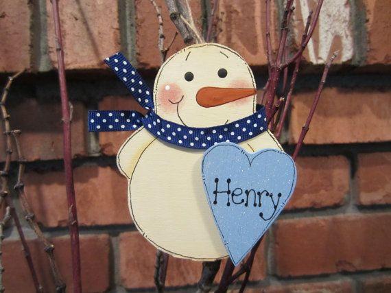Personalized Snowman Ornament - Blue Heart