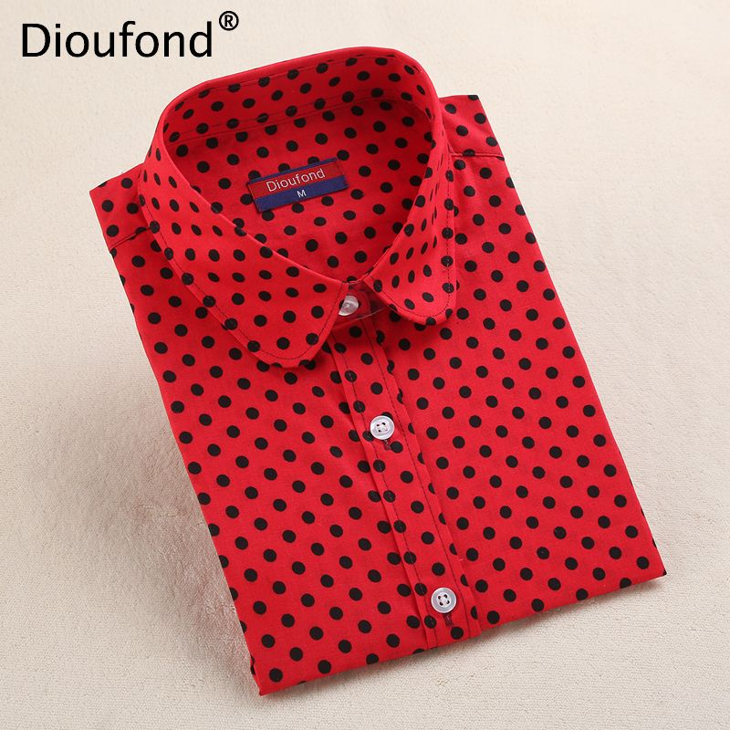 460ae06120df4 Find More Blouses   Shirts Information about Dioufond Women s Polka Dot  Cotton Blouse Shirt Long Sleeve Casual Turn down Collar 2018 New Tops Plus  Size S ...