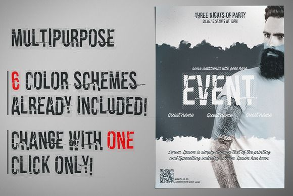 Flyer Template 6 Color Schemes | Flyer and poster design ...