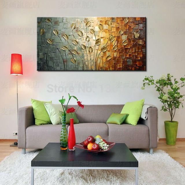 pintado a mano con textura esptula lienzo pintura flores decorativas de la pared del hogar del pintura